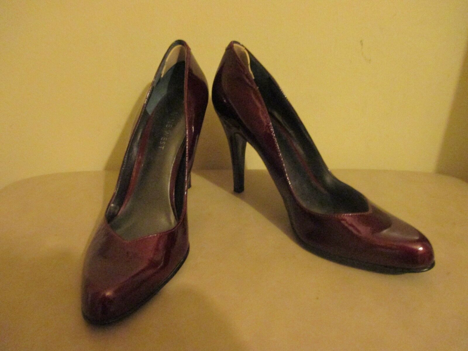 Nine West Lucero Red Wine Patent leather Classic High Heels Pumps Size 6.5 M