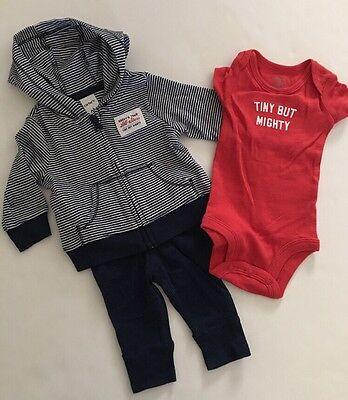 Carters Baby Boy Hoodie Jacket Bodysuit Pants Size 3 6 9 Months Navy Blue Layett