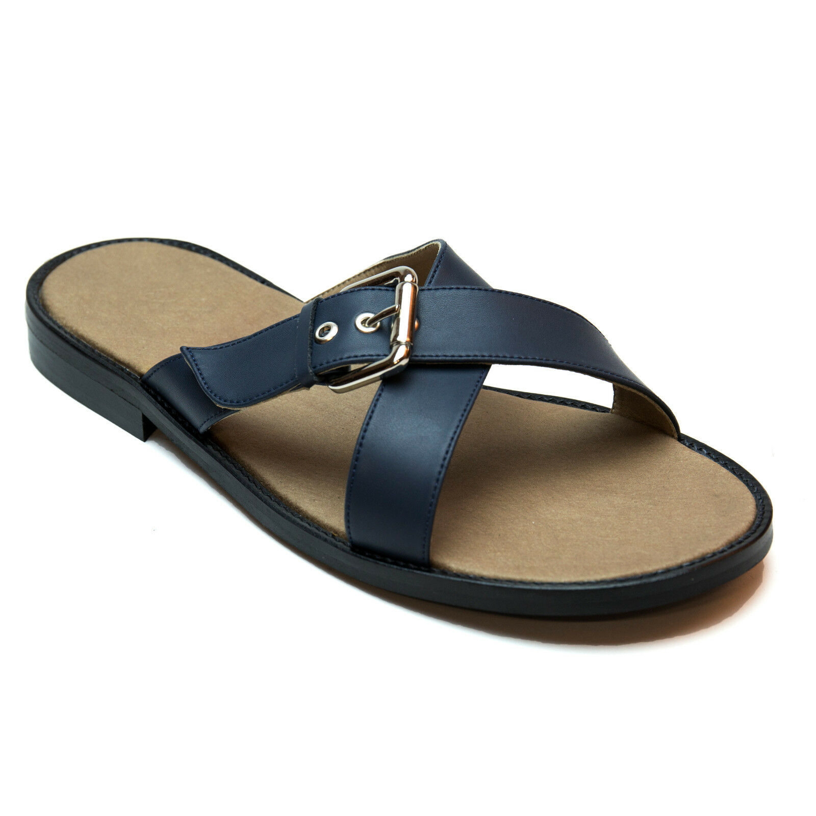Nae - Vegan Two crossed straps with metal buckle sandal Sandalia vegana cruzadas