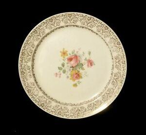 Vintage-Taylor-Smith-amp-Taylor-9-3-4-034-Floral-Dinner-Plate-With-22K-Gold-Leaf