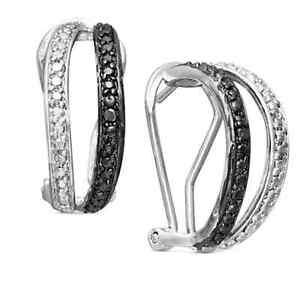 12fec929e NEW Macy's Victoria Townsend Sterling Silver Earrings Black Diamond ...