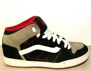 Vans Skink Mid Skate Leather Black+Charcoal Grey+Red Men s Trainer ... bb4dc576030