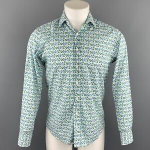 ETRO-Size-S-White-amp-Green-Floral-Cotton-Button-Up-Long-Sleeve-Shirt