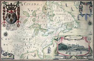 Carte de 1909 Québec Canada Carte de l'Amerique septentrionnale Wall Poster Vintage