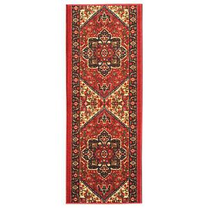 Custom Size Hallway Runner Rug Non Slip Rubber Back RED Traditional Oriental
