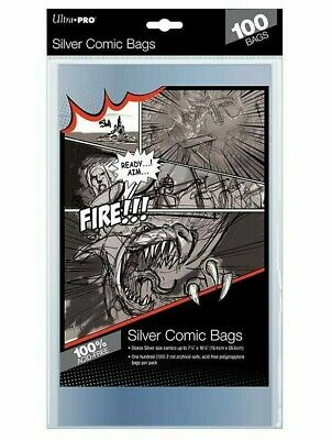 1000 crystal clear silver age comic bags  185.mm x 10.1//2 inches  self sealers.
