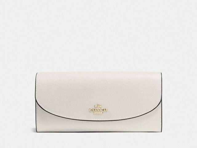 New Authentic Coach F54009 Slim Envelope Crossgrain Leather Wallet Chalk White