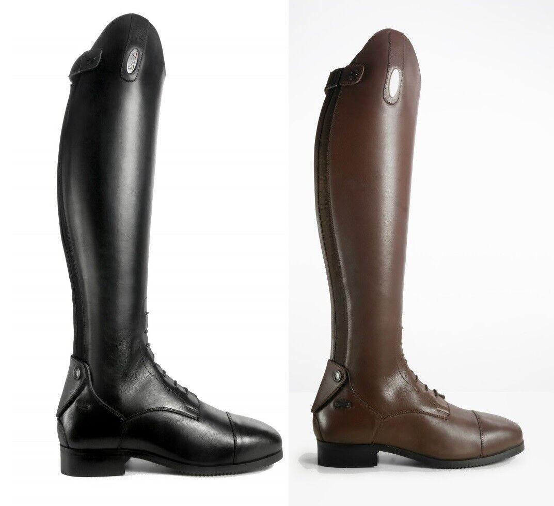 BROGINI Capitoli V2 de largo de alto agarre Strech botas De Montar De Cuero Negro Marrón 3-11