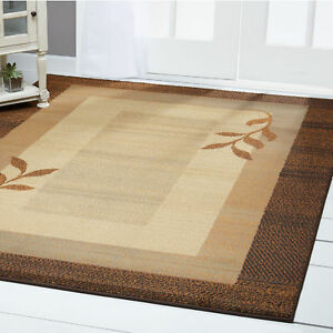 Transitional Brown Blue 4x6 Area Rug Modern Leaf Carpet Actual 3