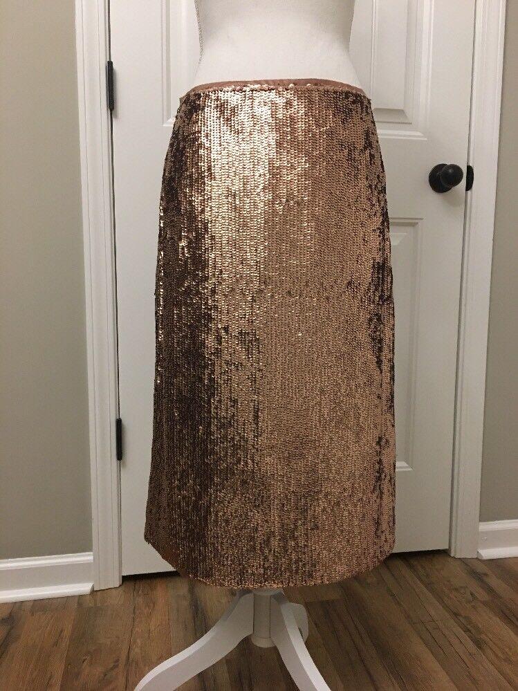 New J Crew pink-gold Sequin Skirt Sz 6 F9233