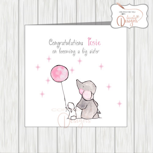 Personalised Congratulations On Becoming A Big Sister Card Cute Rabbit Elephant