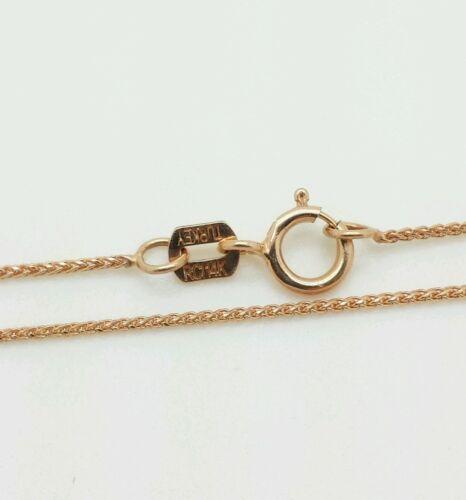 """14k or rose diamant coupe ronde blé Collier Pendentif Chaîne 18/"""" .6 mm"""