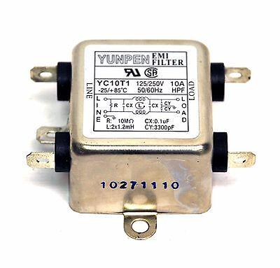 10pc EMI Filter HPY TYPE YC10T1 125VAC 250VAC 10A -25~85℃ UL CSA YUNPEN Taiwan