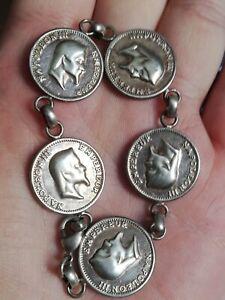 Ancien-bracelet-034-pieces-034-Napoleon-III-en-metal-argente