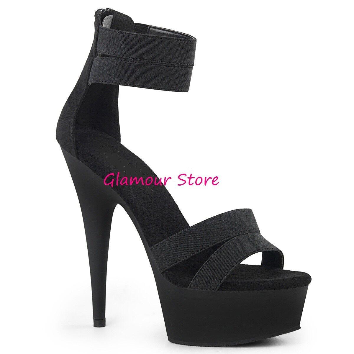 Descuento por tiempo limitado Sexy SANDALI cavigliera tacco 15 NERO plateau dal 35 al 44 zip scarpe club