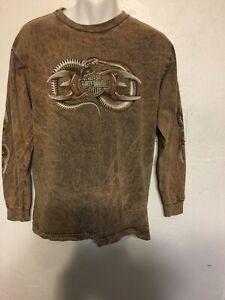 MOTOR-HARLEY-DAVIDSON-MEN-039-S-Brown-Shirt-Kuwait-Tye-Dye-Long-Sleeves-Cotton