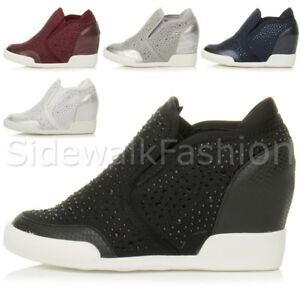 Women Hidden Wedge Low Mid Heel High Top Zip Ankle Boots Sneakers Trainers Shoes