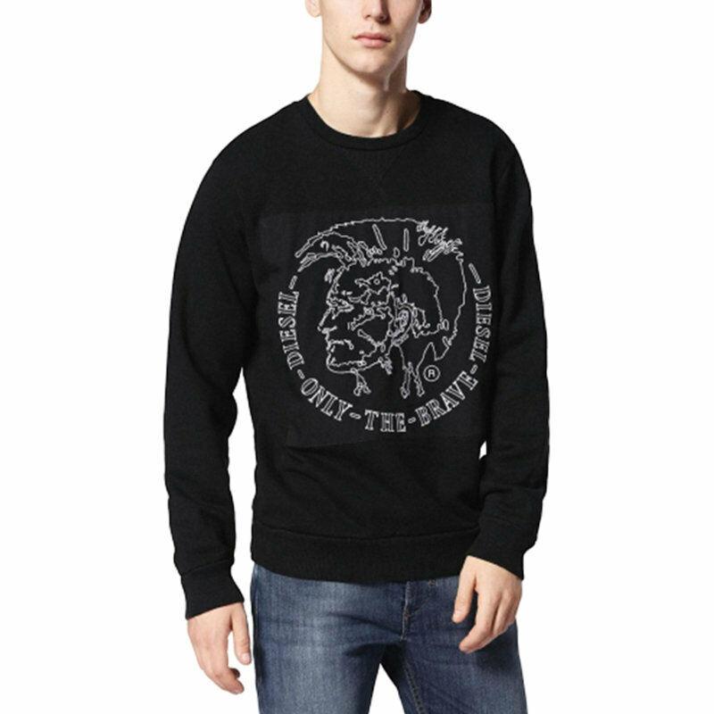 DIESEL S SAMUEL FELPA Black Mens Sweatshirt Crew Neck Long Sleeve Pullover