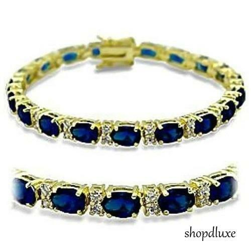 "13.0 CT OVAL CUT BLUE SAPPHIRE CUBIC ZIRCONIA 14K GOLD PLATED 7"" TENNIS BRACELET"