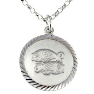 """Pisces Sterling Silver Star Sign The Fish Zodiac Pendant with 18/"""" Chain /& Box"""