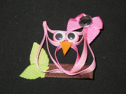 """NEW /""""PINK OWL/"""" Ribbon Sculpture Girls Hairbow Clip Clippie Bow Boutique Summer"""