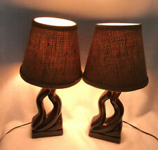 Vintage Mid Century Modern 50s 60s Pair Ceramic Abstract Table Lamps