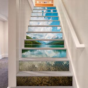 3D-See-Gebirge-9282-Stair-Risers-Dekoration-Fototapete-Vinyl-Aufkleber-Tapete-DE