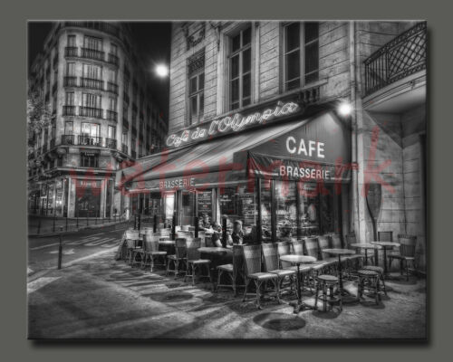 Paris Poster//Photo//French Print//5x7 inch//Paris cafe at night