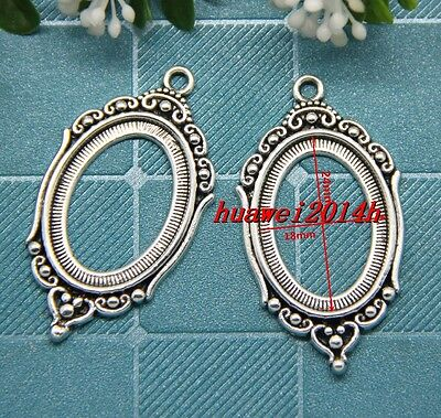 2/8/50pcs Antique Silver Cameo Cabochon Base Setting Pendant Charms DIY 43x24mm