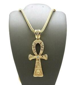 King Tut Gold Ankh Cross Symbol Of Life Pendant W 4mm 36