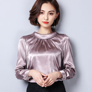 cdf0bd5fe957b3 Image is loading Ladies-Satin-Silk-Shirt-Vintage-Pleated-Long-Sleeve-