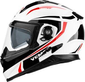 Casco-Helmet-VEMAR-ZEPHIR-BIANCO-ROSSO-WHITE-RED-NERO-BLACK-DOPPIA-VISIERA-L