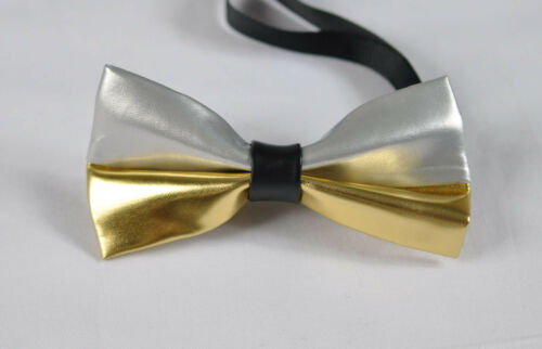 Men PVC Faux Leather Silver and Gold Stitching Bow Tie Bowtie Wedding Party