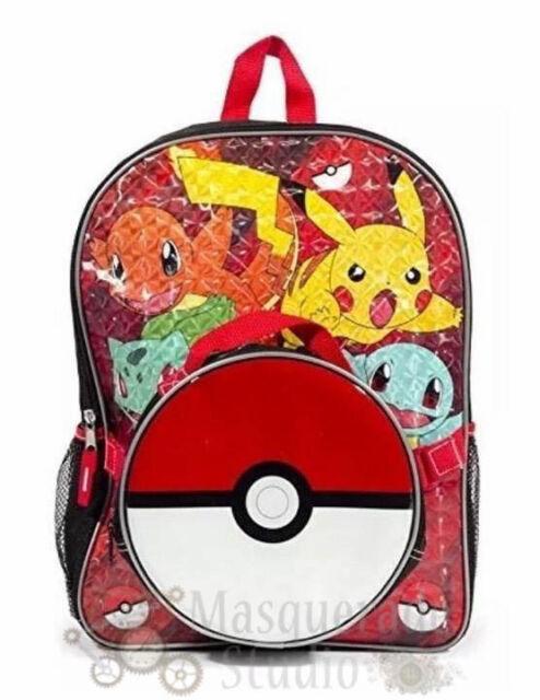 """Pokemon Pikachu 17/"""" Large School Backpack Lunch Bag Book Bag Set Lot"""
