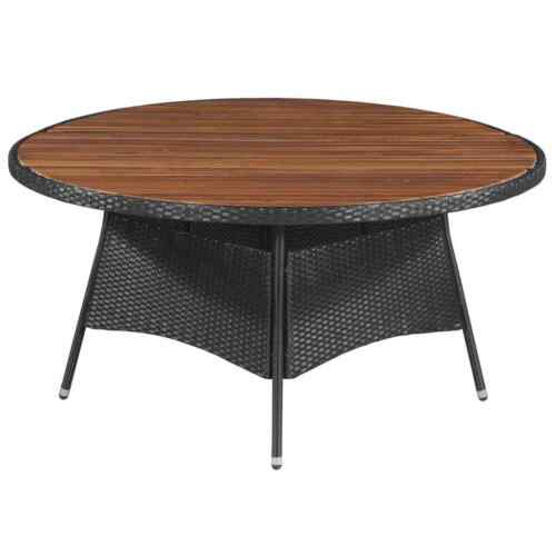 vidaXL Outdoor Dining Table Poly Rattan and Solid Acacia Wood 150x74cm Garden