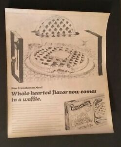 VINTAGE-ADVERTISING-1977-Campaign-Pitch-Poster-ROMAN-MEAL-WAFFLES-3