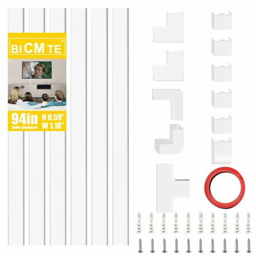 Cord Cover Cable Management Kit Cables Organizer Raceway Wire Concealer White
