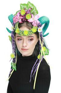 à Condition De Burlesque Green Daisy Redoutable Rams Horn Festival Coiffure Bandeau Couronne Gobbol