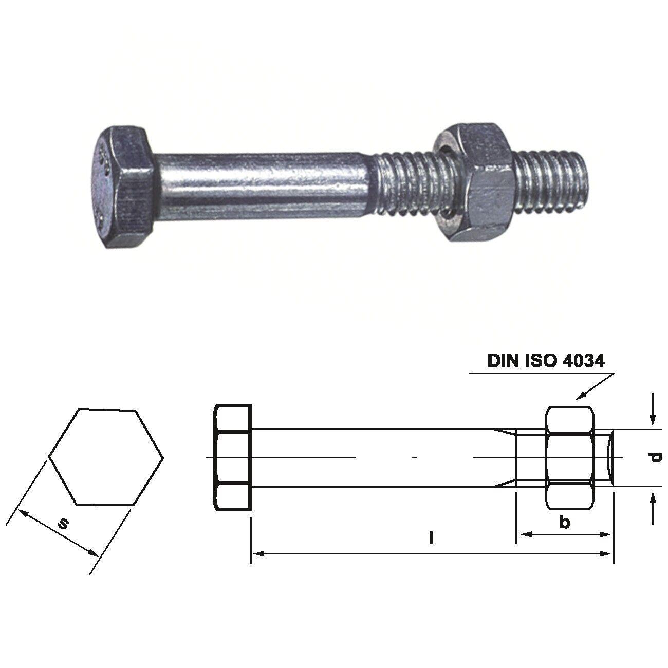 Bauschraube Sechskantschraube + Mutter mit Schaft ähnlich DIN 601 555-4.6 M24