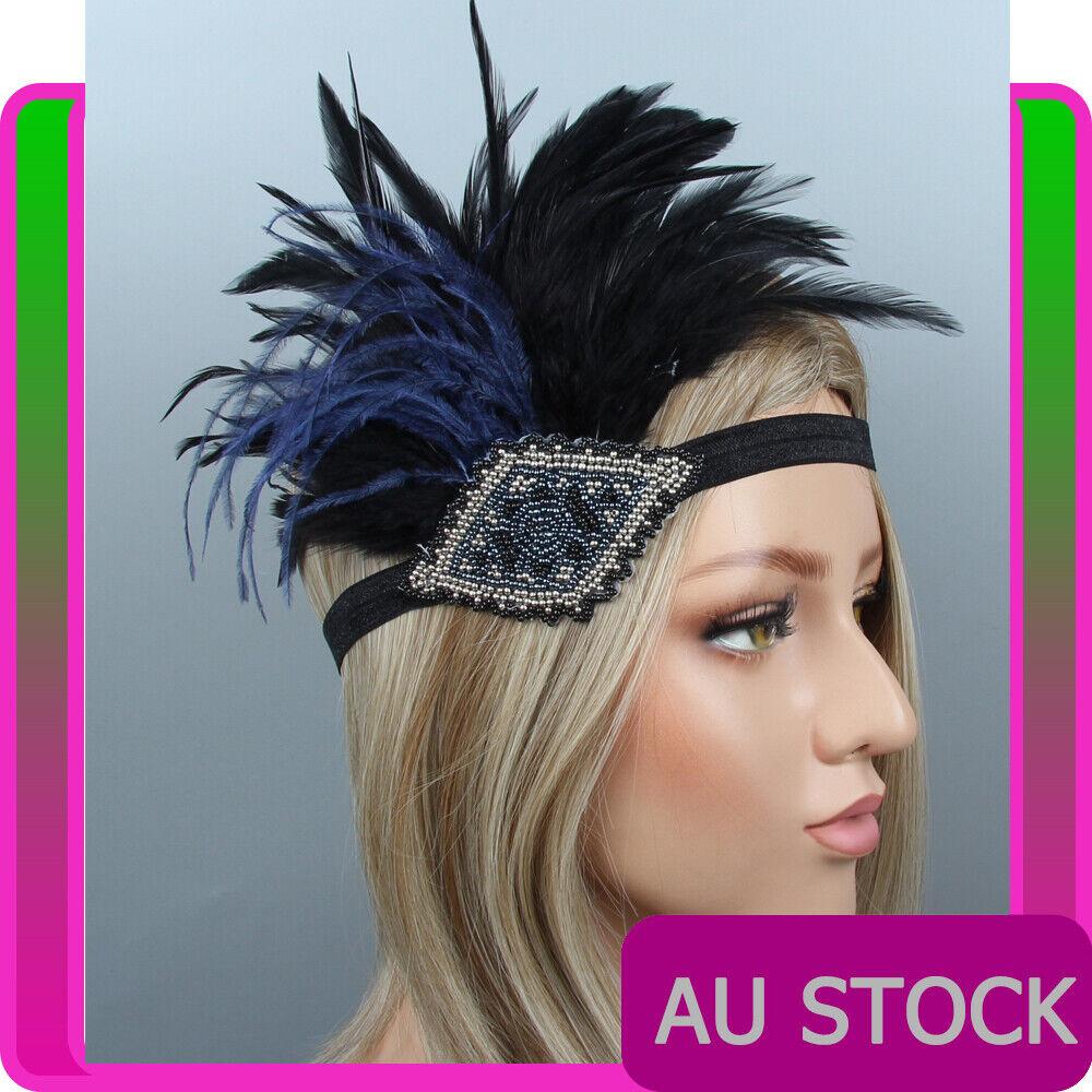 1920s Headband Blue Feather Bridal Great Gatsby 20s Flapper Headpiece Gangster