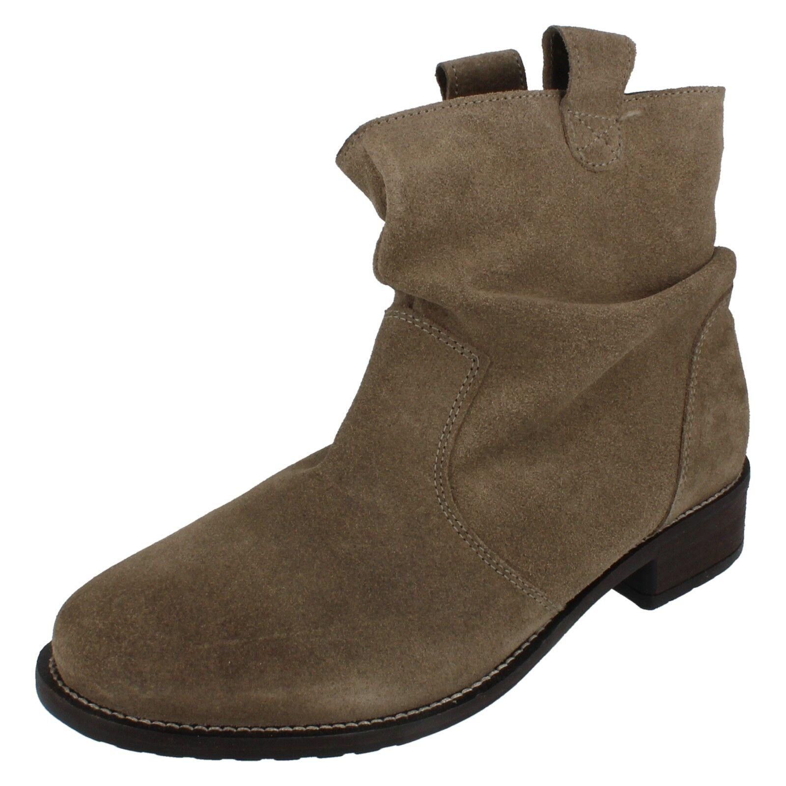 Mesdames cuir collection Slouch Bottines à enfiler F5R0659
