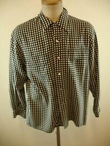 Mens-M-Neiman-Marcus-Shirt-100-Silk-Loop-Collar-1950-039-s-Style-Black-White-Plaid