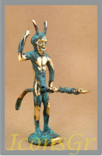 Ancient Greek Bronze Museum Mythology Statue Replica Satyrus Satyr Pan Dionysus