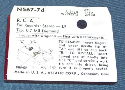 STEREO PHONOGRAPH RECORD PLAYER NEEDLE for RCA 115061 115050 115059 N567-7D