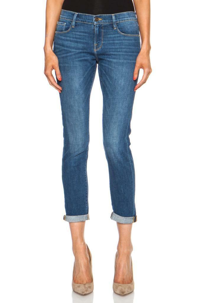 FRAME Denim LE GARCON AMgoldSO Medium-Wash Cuffed Slim-Leg Jeans 24 NEW