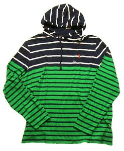 Polo-Ralph-Lauren-Men-039-s-Green-Navy-Multi-Striped-Hooded-T-Shirt