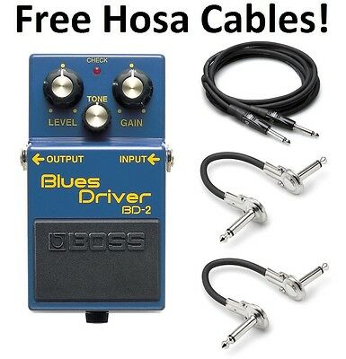 New Boss BD-2 Blues Driver Effect Pedal FREE Patch Cable!