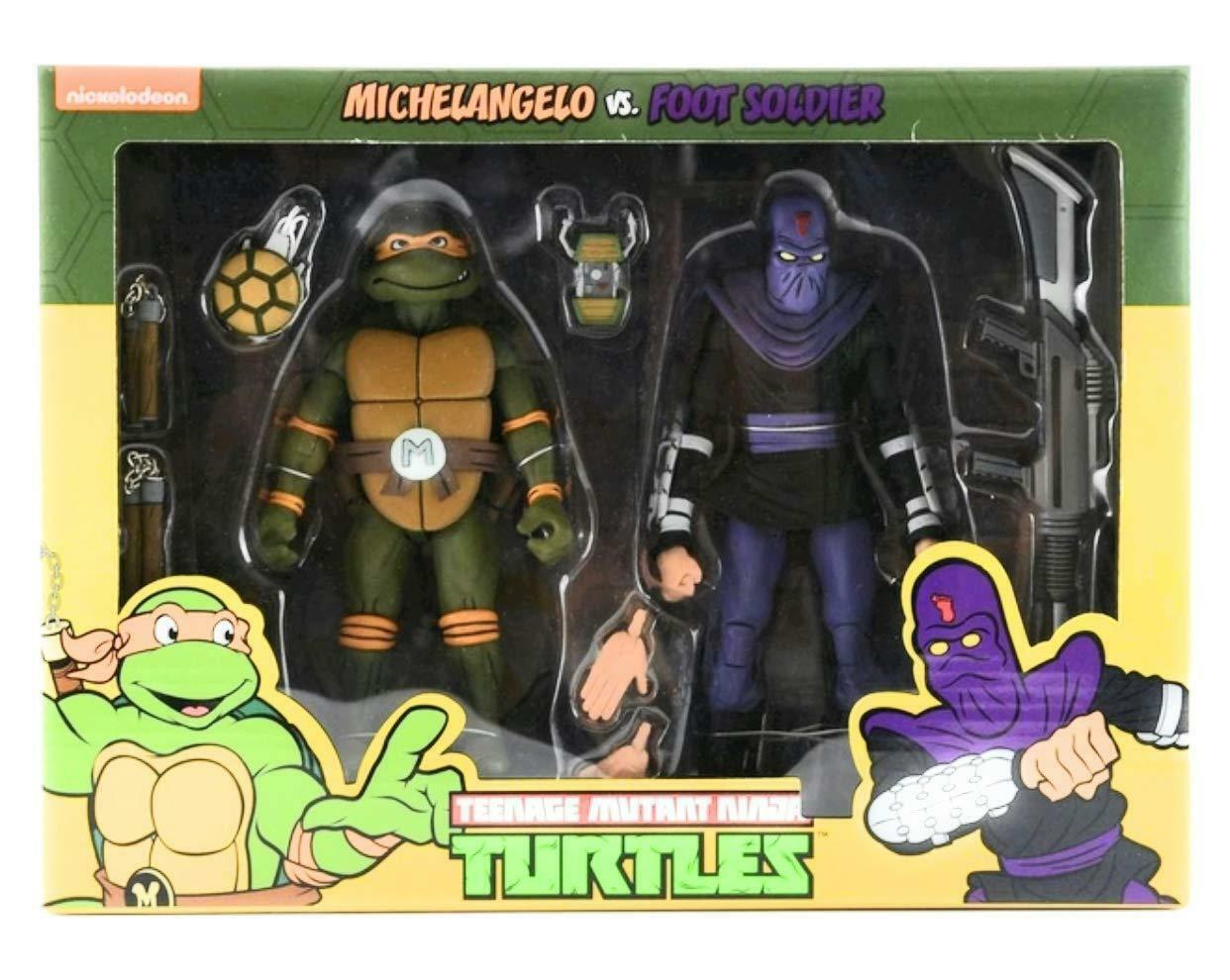 NECA Teenage Mutant Ninja Turtles MICHELANGELO VS FOOT SOLDIERS 2Pack 6 cifra