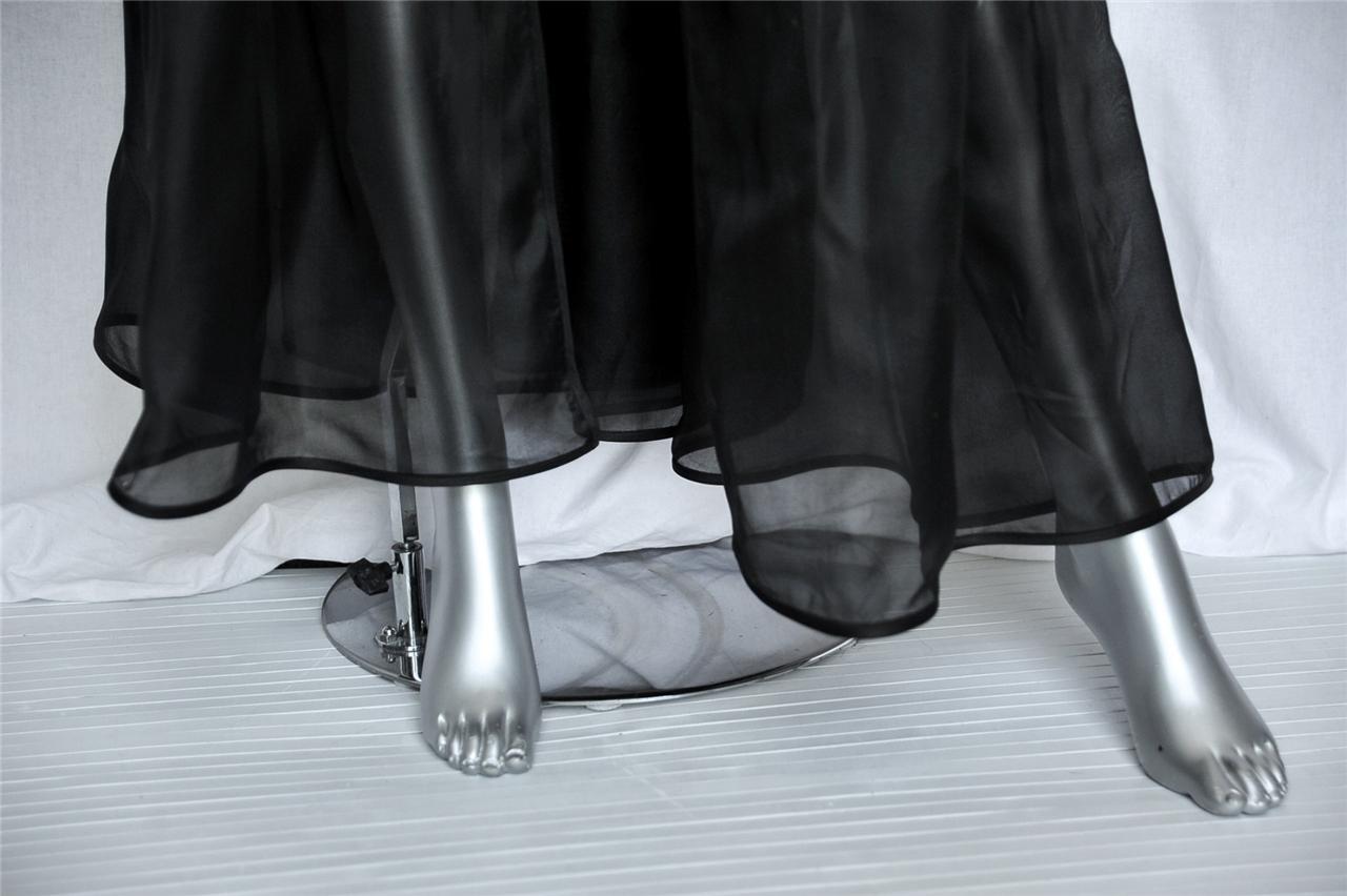 Valentino Boutique Seta Nera Organza Aperto davanti Intera Intera Intera Pieghe Sera Gonna S f35ff7