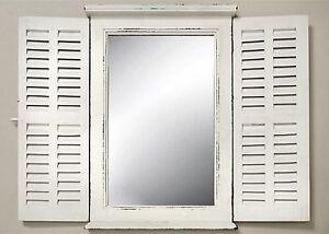 Miroir Mural Blanc Avec Volet Miroir Bois Maison De Campagne Fenêtre
